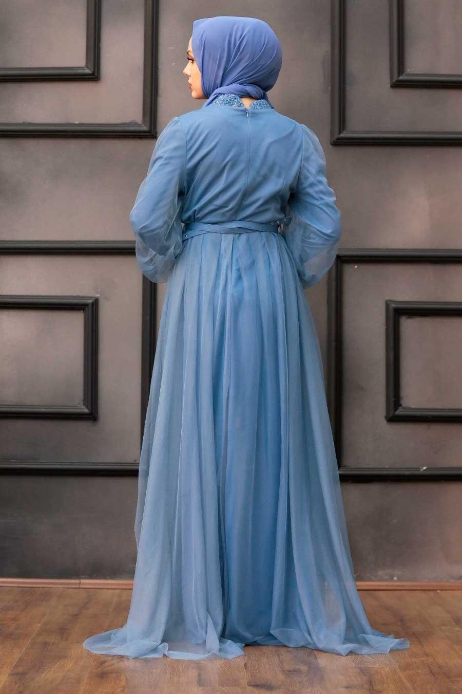 Tesettürlü Abiye Elbise - Pul Payetli İndigo Mavisi Tesettür Abiye Elbise 5383IM
