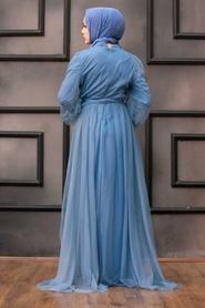 Tesettürlü Abiye Elbise - Pul Payetli İndigo Mavisi Tesettür Abiye Elbise 5383IM - Thumbnail