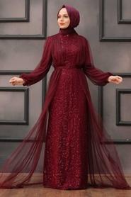 Tesettürlü Abiye Elbise - Pul Payetli Koyu Bordo Tesettür Abiye Elbise 5383KBR - Thumbnail