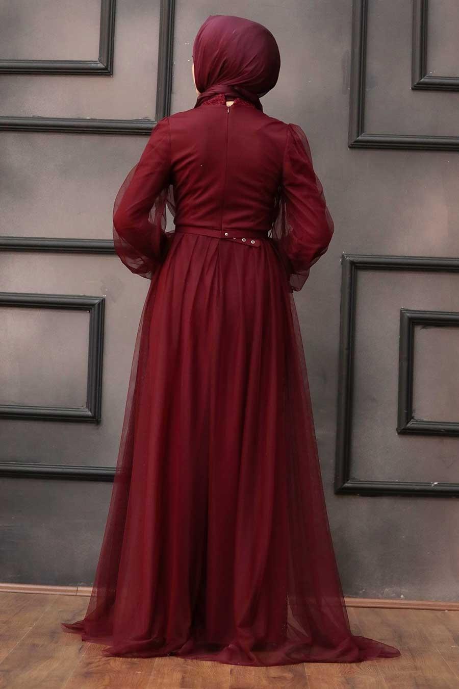 Tesettürlü Abiye Elbise - Pul Payetli Koyu Bordo Tesettür Abiye Elbise 5383KBR