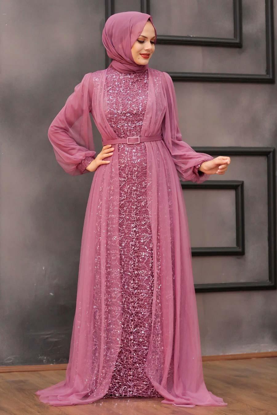 Tesettürlü Abiye Elbise -Pul Payetli Koyu Gül Kurusu Tesettür Abiye Elbise 5383KGK