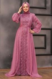 Tesettürlü Abiye Elbise -Pul Payetli Koyu Gül Kurusu Tesettür Abiye Elbise 5383KGK - Thumbnail