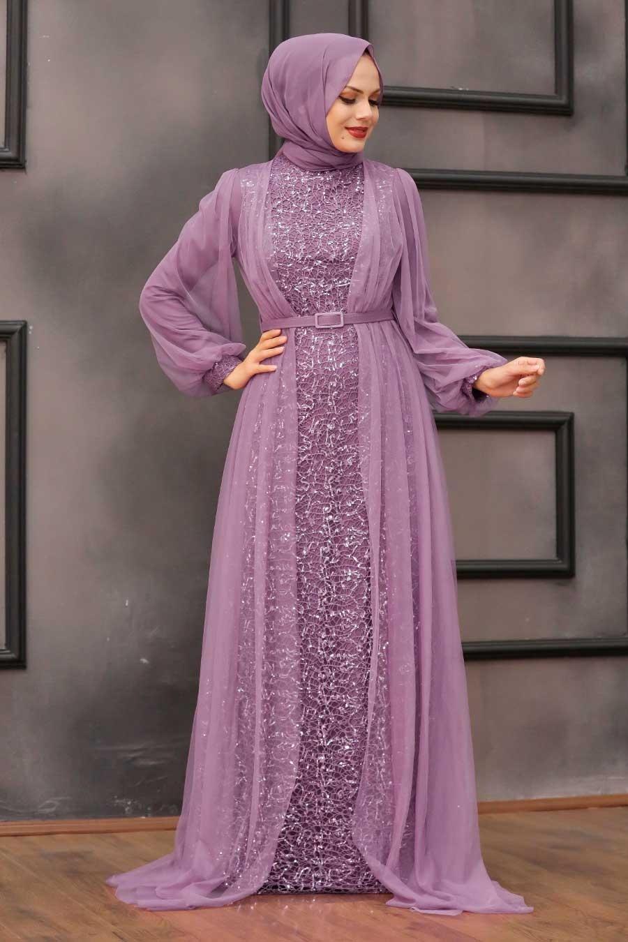 Tesettürlü Abiye Elbise - Pul Payetli Koyu Lila Tesettür Abiye Elbise 5383KLILA