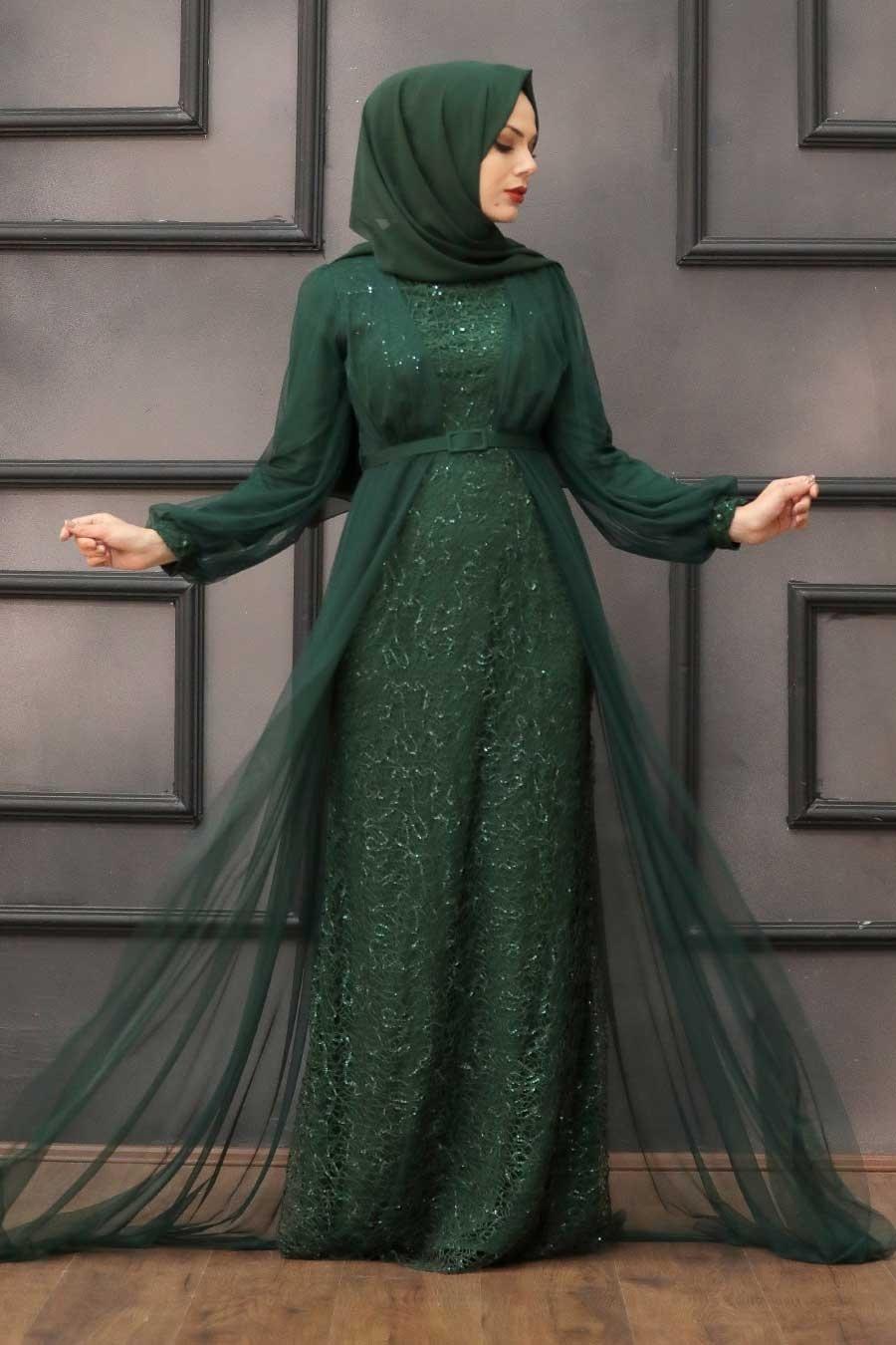 Tesettürlü Abiye Elbise - Pul Payetli Koyu Yeşil Tesettür Abiye Elbise 5383KY