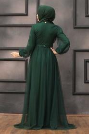 Tesettürlü Abiye Elbise - Pul Payetli Koyu Yeşil Tesettür Abiye Elbise 5383KY - Thumbnail