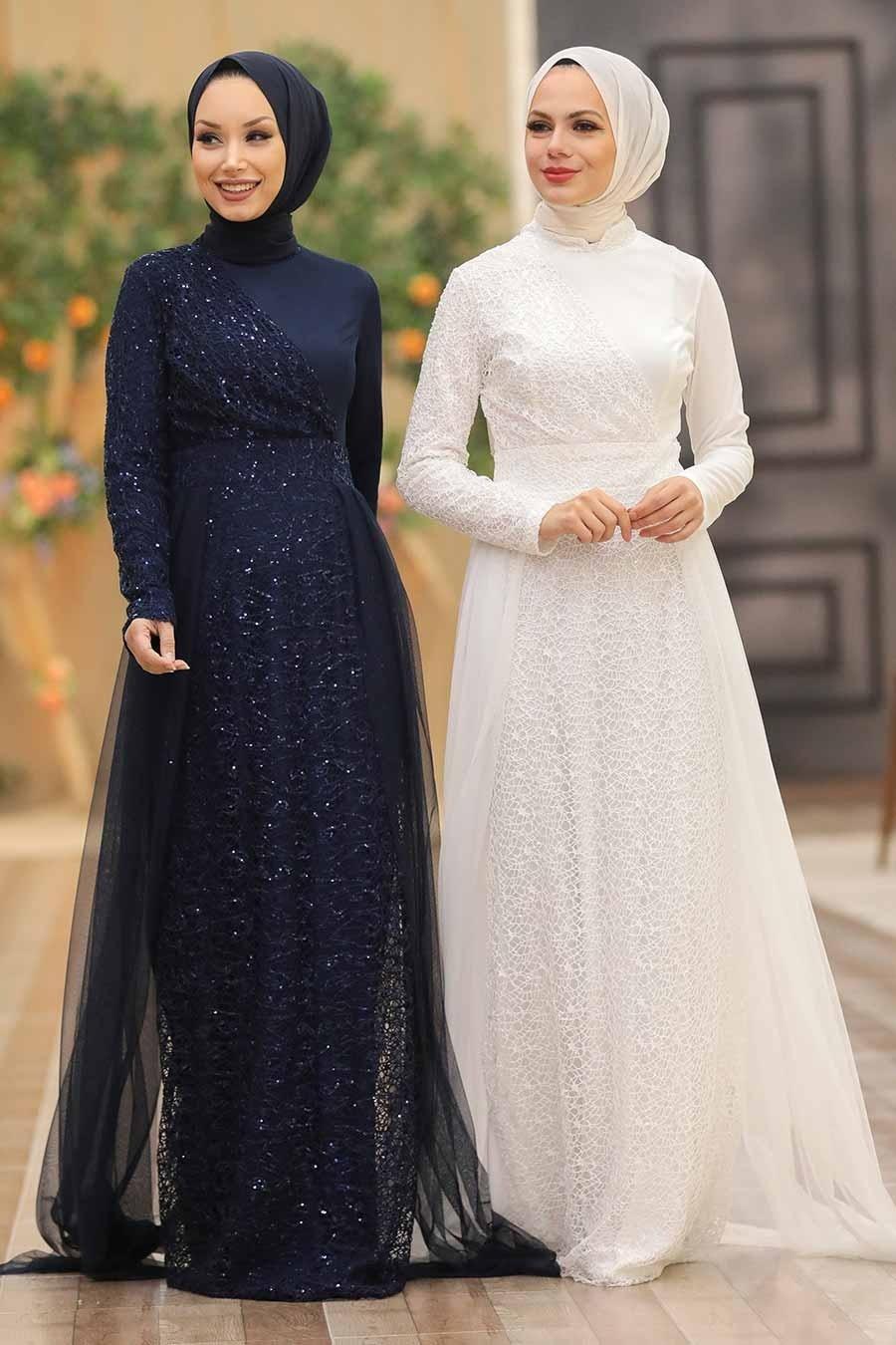 Tesettürlü Abiye Elbise - Pul Payetli Lacivert Tesettür Abiye Elbise 5345L