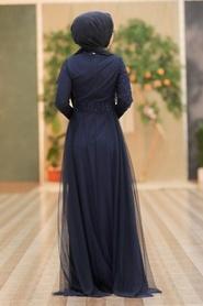 Tesettürlü Abiye Elbise - Pul Payetli Lacivert Tesettür Abiye Elbise 5345L - Thumbnail