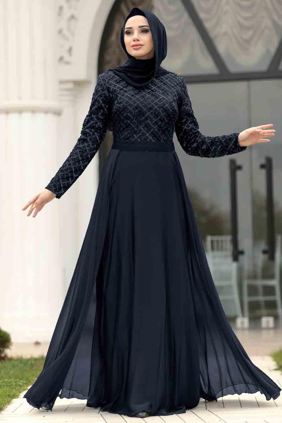 Tesettürlü Abiye Elbise - Pul Payetli Lacivert Tesettür Abiye Elbise 8127L