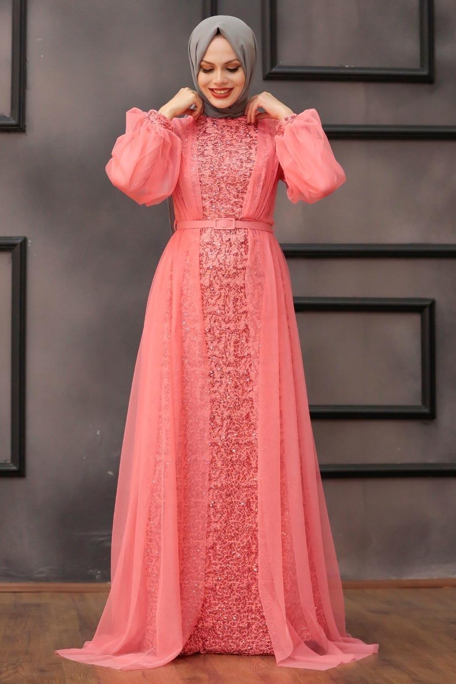 Tesettürlü Abiye Elbise - Pul Payetli Mercan Tesettür Abiye Elbise 5383MR