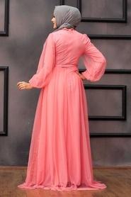 Tesettürlü Abiye Elbise - Pul Payetli Mercan Tesettür Abiye Elbise 5383MR - Thumbnail
