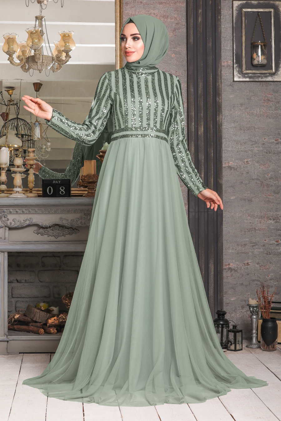 Tesettürlü Abiye Elbise - Pul Payetli Mint Tesettür Abiye Elbise 5338MINT