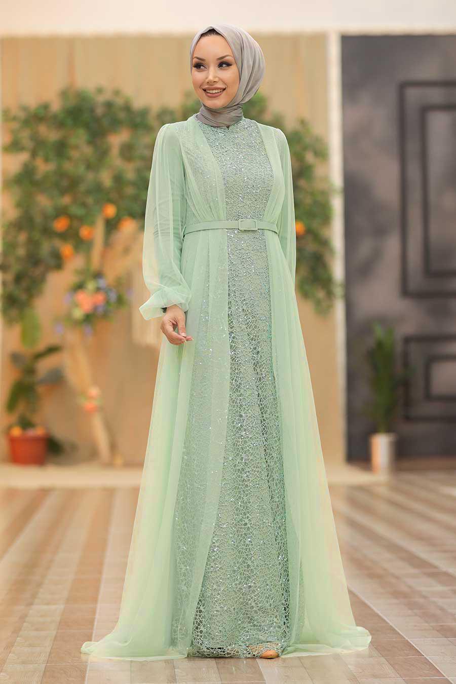 Tesettürlü Abiye Elbise - Pul Payetli Mint Tesettür Abiye Elbise 5383MINT