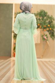 Tesettürlü Abiye Elbise - Pul Payetli Mint Tesettür Abiye Elbise 5383MINT - Thumbnail