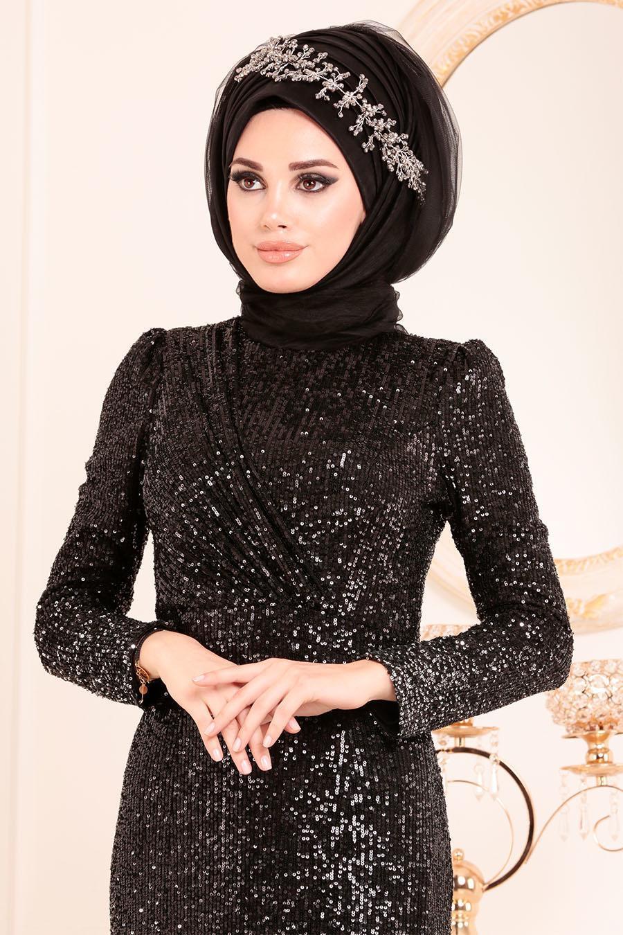 Tesettürlü Abiye Elbise - Pul Payetli Siyah Tesettür Abiye Elbise 2106S