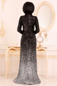 Tesettürlü Abiye Elbise - Pul Payetli Siyah Tesettür Abiye Elbise 2106S - Thumbnail