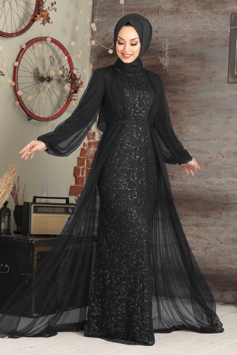 Tesettürlü Abiye Elbise - Pul Payetli Siyah Tesettür Abiye Elbise 5383S