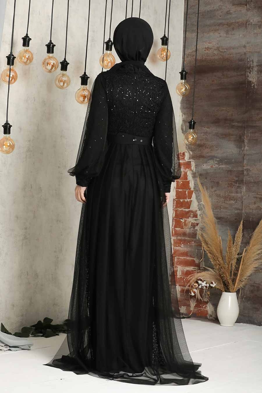 Tesettürlü Abiye Elbise - Pul Payetli Siyah Tesettür Abiye Elbise 5441S