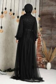 Tesettürlü Abiye Elbise - Pul Payetli Siyah Tesettür Abiye Elbise 5441S - Thumbnail