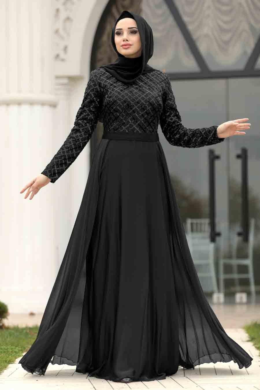 Tesettürlü Abiye Elbise - Pul Payetli Siyah Tesettür Abiye Elbise 8127S
