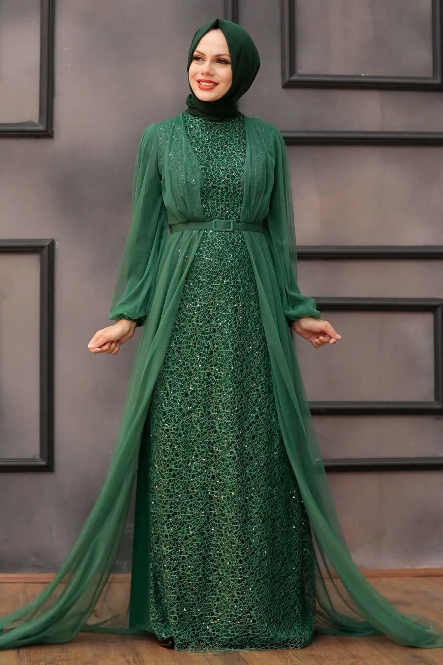Tesettürlü Abiye Elbise - Pul Payetli Yeşil Tesettür Abiye Elbise 5383Y