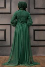 Tesettürlü Abiye Elbise - Pul Payetli Yeşil Tesettür Abiye Elbise 5383Y - Thumbnail