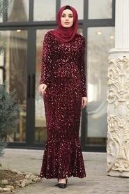 Tesettürlü Abiye Elbise - Balık Model Bordo Tesettür Abiye Elbise 87760BR - Thumbnail