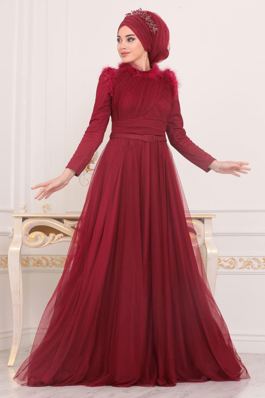 Tesettürlü Abiye Elbise - Püskül Detaylı Bordo Tesettür Abiye Elbise 39890BR