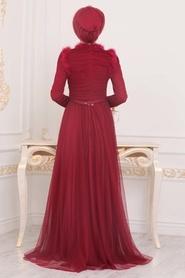 Tesettürlü Abiye Elbise - Püskül Detaylı Bordo Tesettür Abiye Elbise 39890BR - Thumbnail