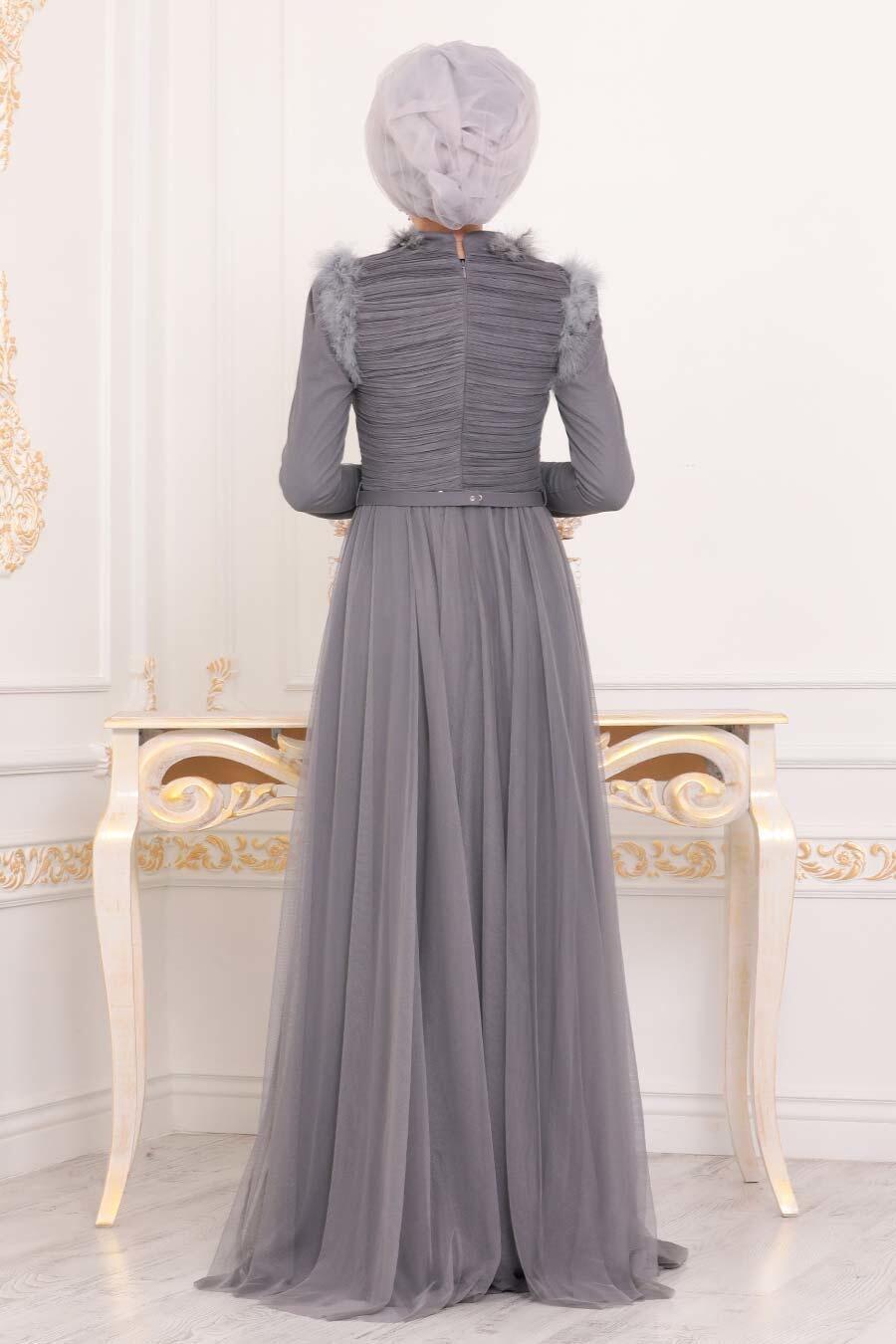 Tesettürlü Abiye Elbise - Püskül Detaylı Füme Tesettür Abiye Elbise 39890FU