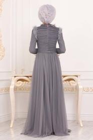 Tesettürlü Abiye Elbise - Püskül Detaylı Füme Tesettür Abiye Elbise 39890FU - Thumbnail