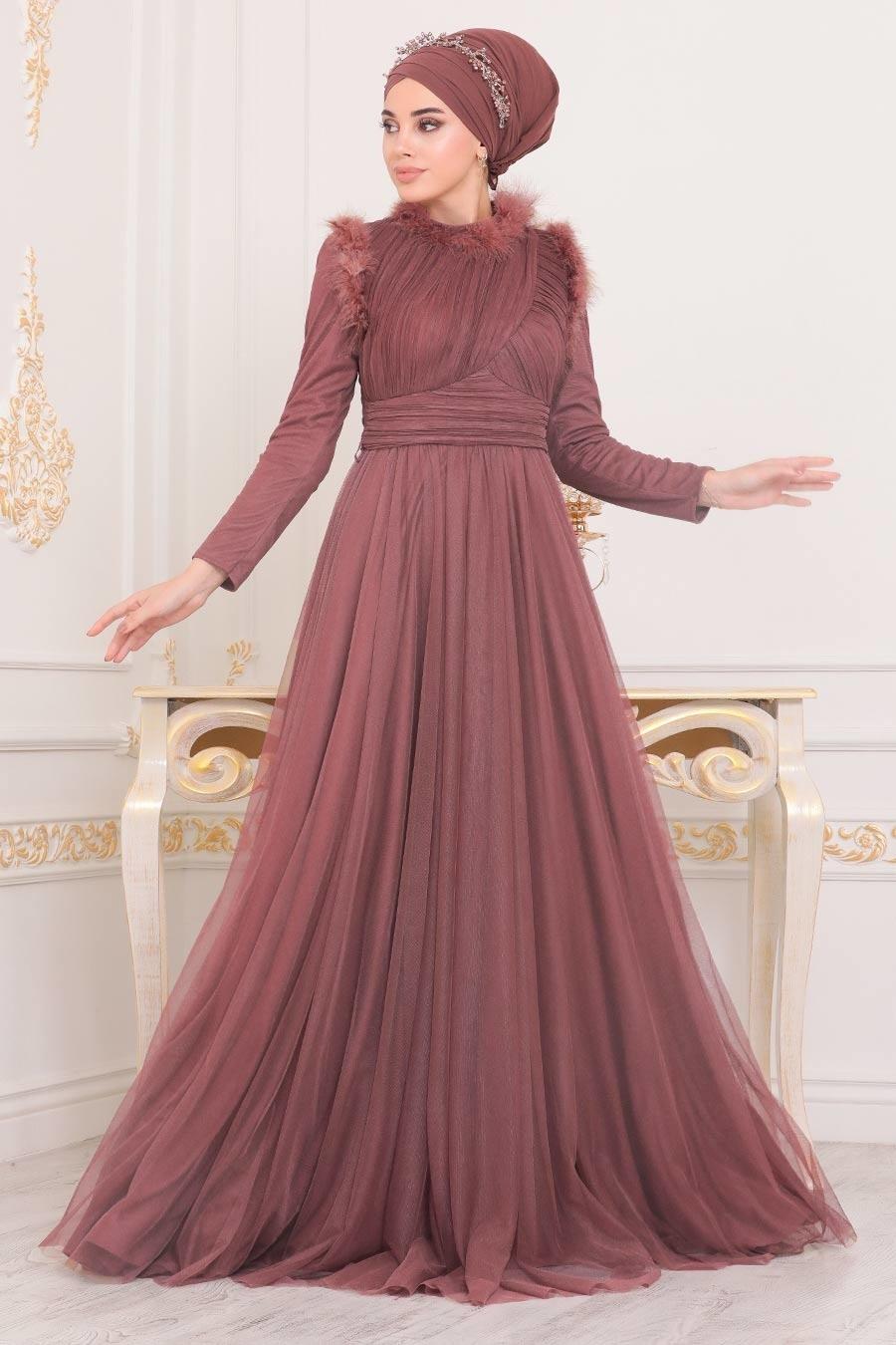 Tesettürlü Abiye Elbise - Püskül Detaylı Gül Kurusu Tesettür Abiye Elbise 39890GK