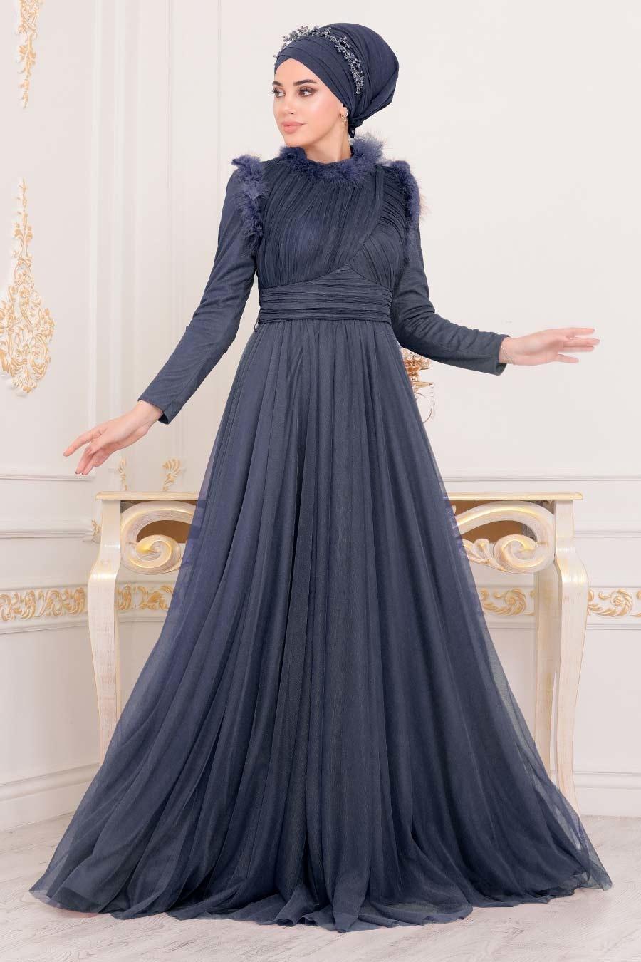 Tesettürlü Abiye Elbise - Püskül Detaylı Lacivert Tesettür Abiye Elbise 39890L