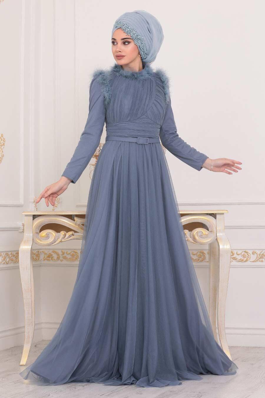 Tesettürlü Abiye Elbise - Püskül Detaylı Mavi Tesettür Abiye Elbise 39890M
