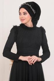 Tesettürlü Abiye Elbise - Püskül Detaylı Siyah Tesettür Abiye Elbise 39890S - Thumbnail