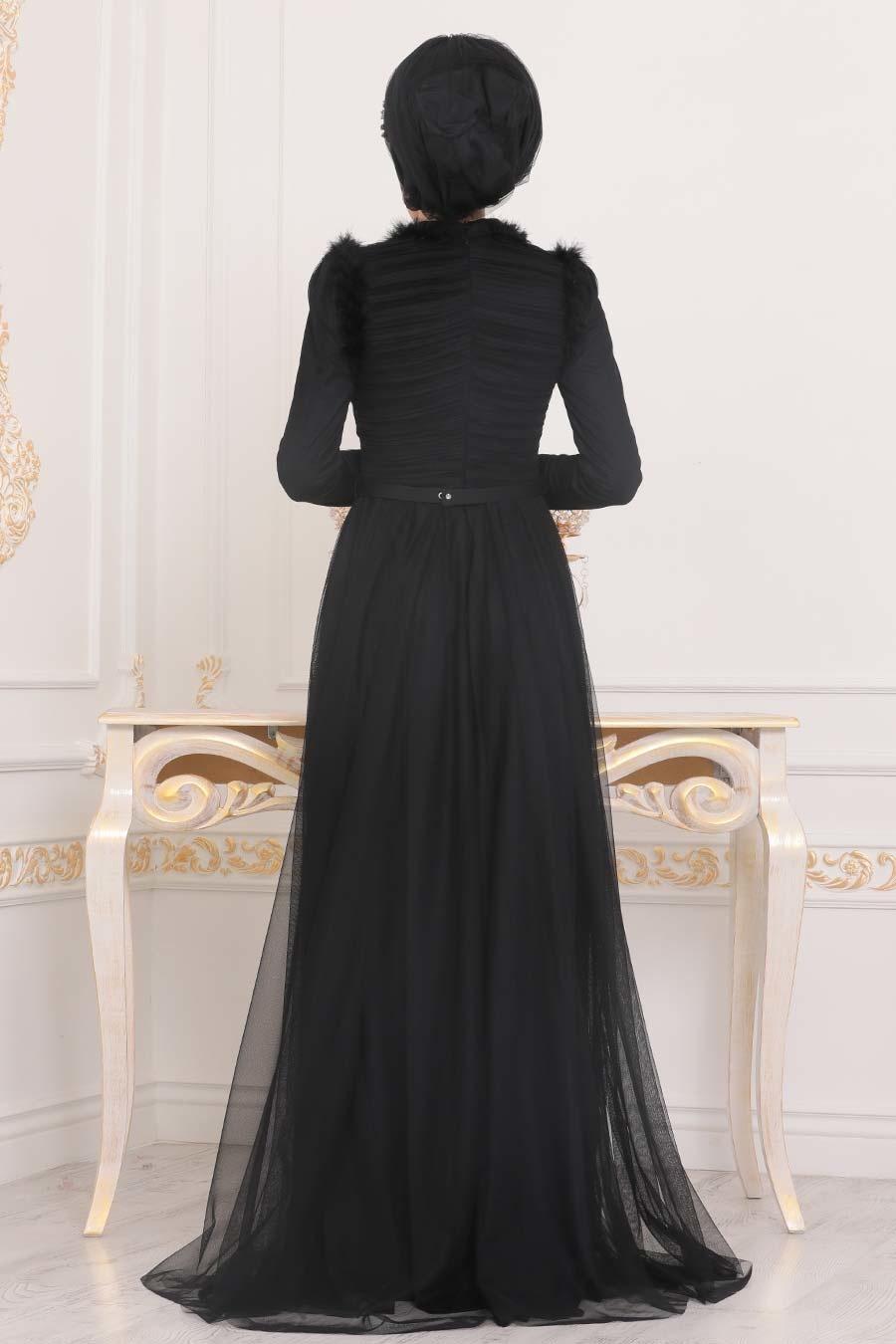 Tesettürlü Abiye Elbise - Püskül Detaylı Siyah Tesettür Abiye Elbise 39890S