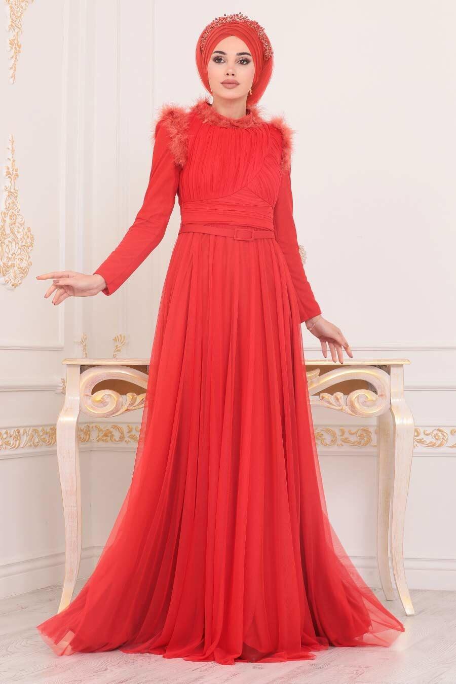 Tesettürlü Abiye Elbise - Püskül Detaylı Turuncu Tesettür Abiye Elbise 39890T