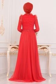 Tesettürlü Abiye Elbise - Püskül Detaylı Turuncu Tesettür Abiye Elbise 39890T - Thumbnail