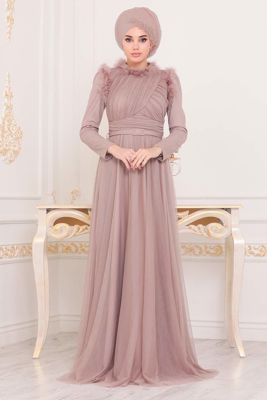 Tesettürlü Abiye Elbise - Püskül Detaylı Vizon Tesettür Abiye Elbise 39890V