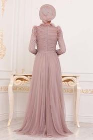 Tesettürlü Abiye Elbise - Püskül Detaylı Vizon Tesettür Abiye Elbise 39890V - Thumbnail