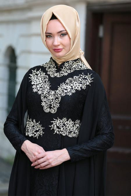 Tesettürlü Abiye Elbise - Şifon Detaylı Dantelli Siyah Tesettür Abiye Elbise 7623S