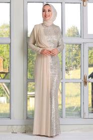 Tesettürlü Abiye Elbise - Şifon Detaylı Pul Payet Bej Tesettür Abiye Elbise 34290BEJ - Thumbnail