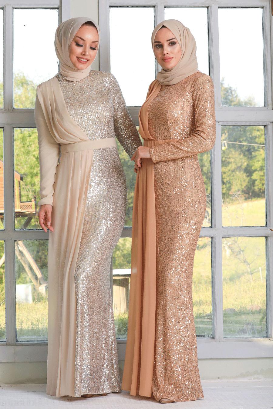 Tesettürlü Abiye Elbise - Şifon Detaylı Pul Payet Bej Tesettür Abiye Elbise 34290BEJ