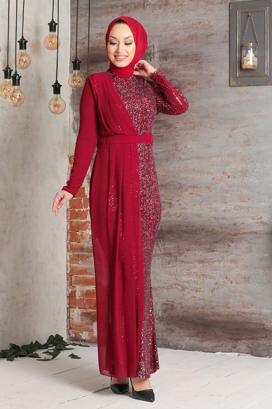 Tesettürlü Abiye Elbise - Şifon Detaylı Pul Payet Bordo Tesettür Abiye Elbise 34290BR