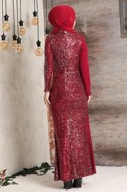 Tesettürlü Abiye Elbise - Şifon Detaylı Pul Payet Bordo Tesettür Abiye Elbise 34290BR - Thumbnail