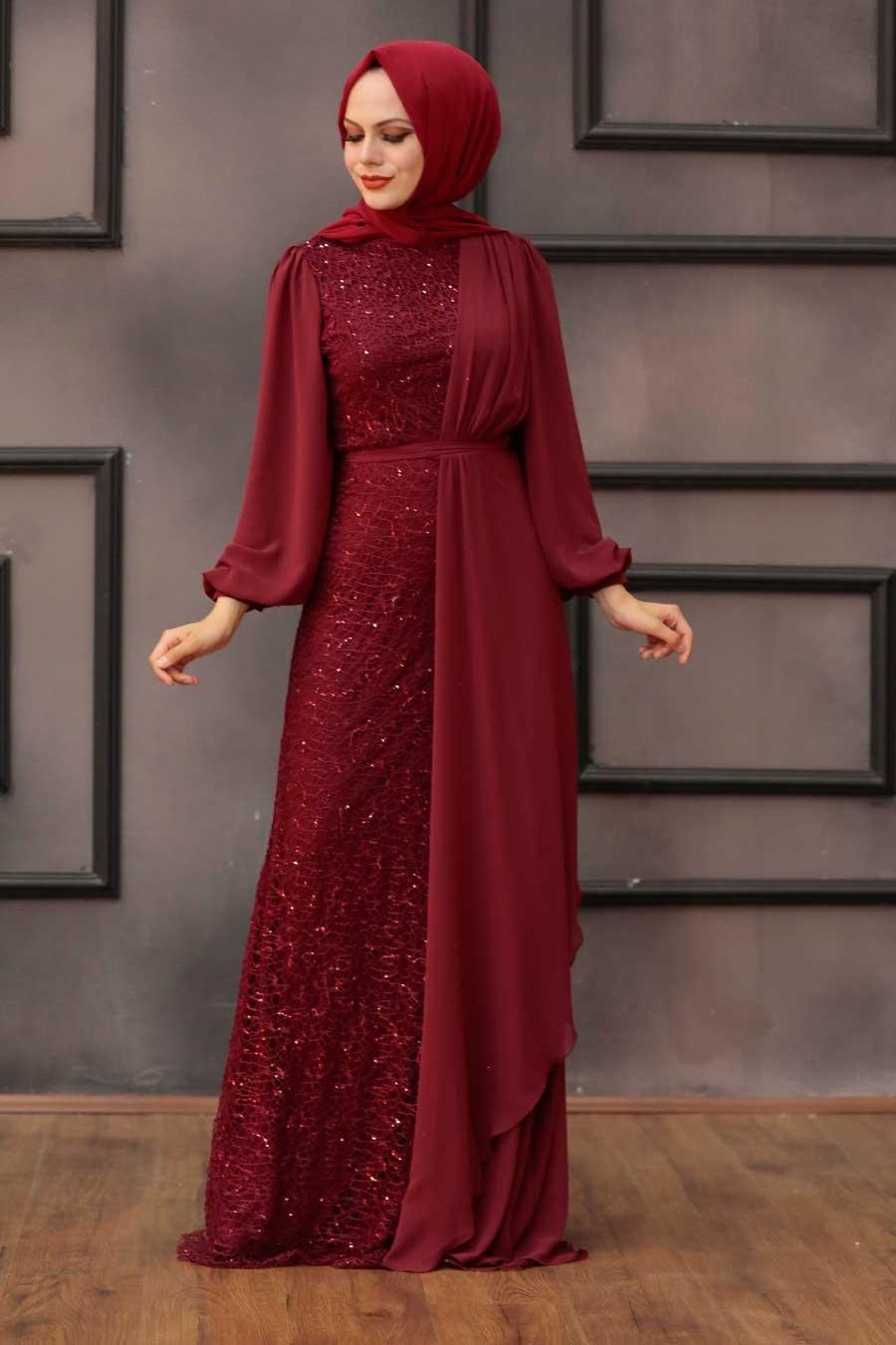 Tesettürlü Abiye Elbise - Şifon Detaylı Pul Payet Bordo Tesettür Abiye Elbise 5516BR