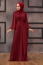 Tesettürlü Abiye Elbise - Şifon Detaylı Pul Payet Bordo Tesettür Abiye Elbise 5516BR - Thumbnail