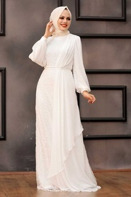 Tesettürlü Abiye Elbise - Şifon Detaylı Pul Payet Ekru Tesettür Abiye Elbise 5516E - Thumbnail