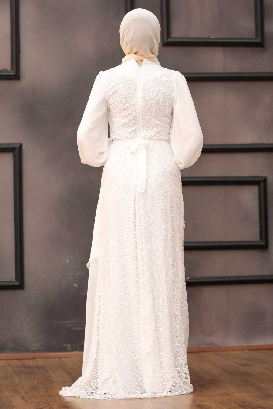 Tesettürlü Abiye Elbise - Şifon Detaylı Pul Payet Ekru Tesettür Abiye Elbise 5516E