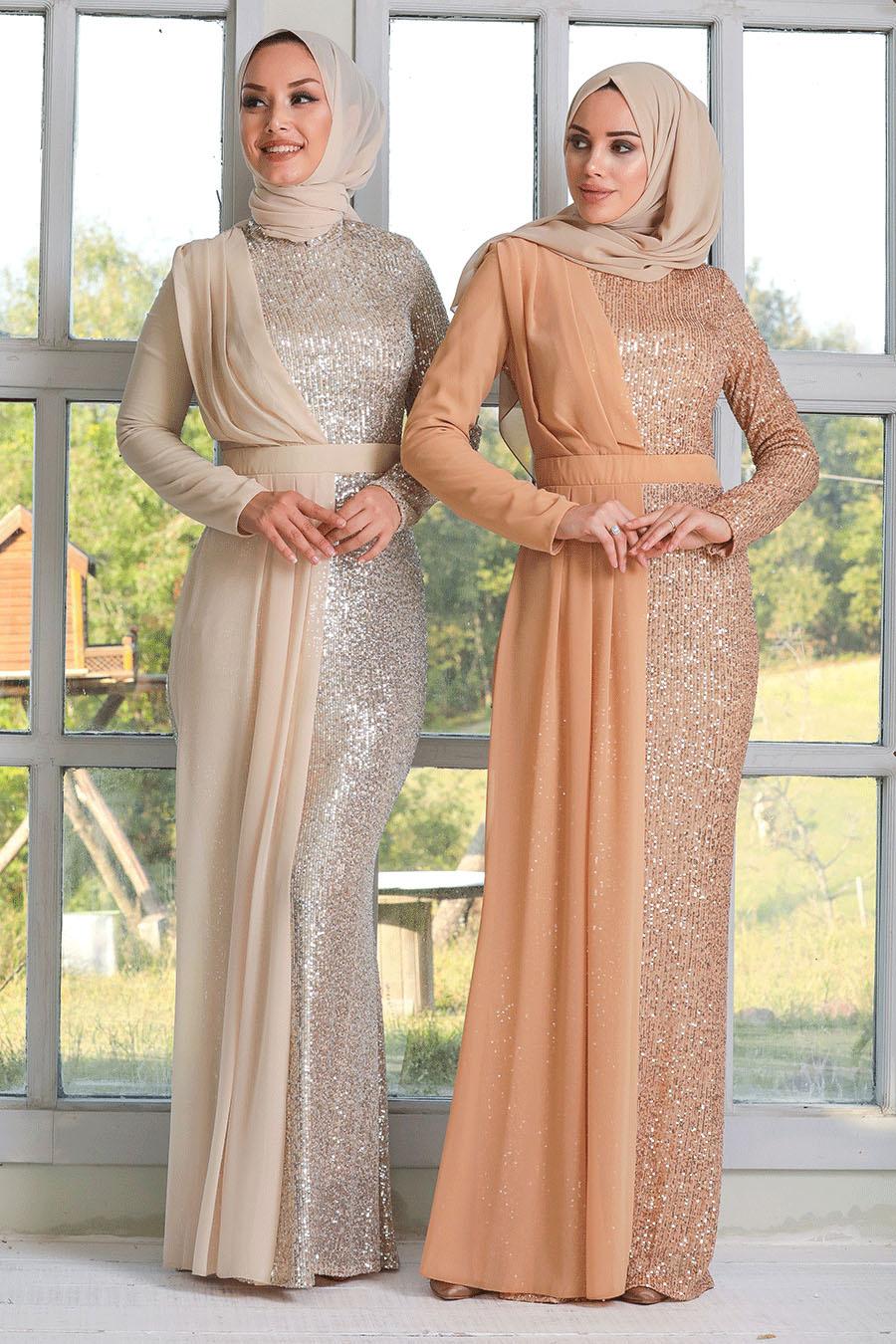 Tesettürlü Abiye Elbise - Şifon Detaylı Pul Payet Gold Tesettür Abiye Elbise 34290GOLD