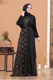 Tesettürlü Abiye Elbise - Şifon Detaylı Pul Payet Gold Tesettür Abiye Elbise 5516GOLD - Thumbnail